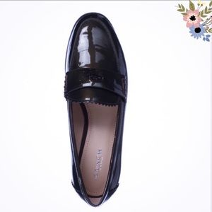 Coach Peyton Green Leather Loafer Flats, 9B